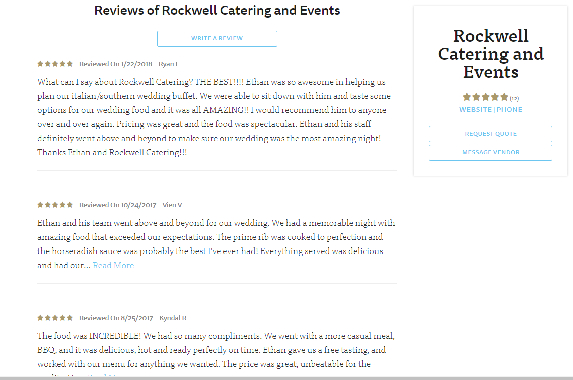 Rockwell Catering and Events reviews